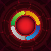 Vector of Info graphic design elements for your business info with 4 options and arrow wheel circle style.