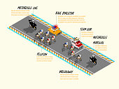 info graphic isometric design of cycling race on the road