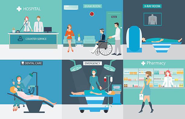 ilustraciones, imágenes clip art, dibujos animados e iconos de stock de info graphic de servicios médicos con los médicos y a los pacientes. - recepcionista