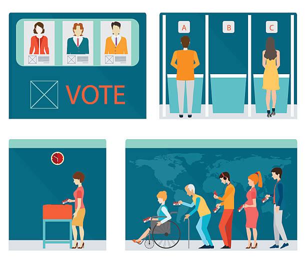 ilustraciones, imágenes clip art, dibujos animados e iconos de stock de información gráfico de votación áreas reservadas con personas esperando en línea. - polling place