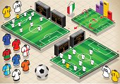info graphic set of Soccer fields and uniforms