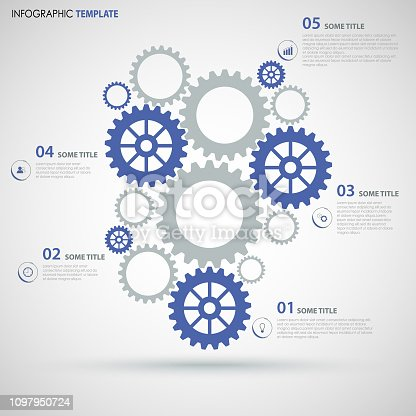 istock Info graphic with blue gray flat gear wheels design template 1097950724