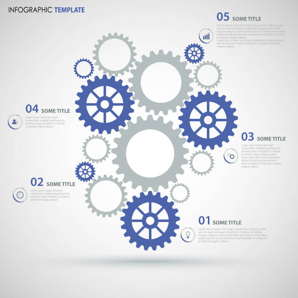 info graphic with blue gray flat gear wheels design template - group of people stock illustrations