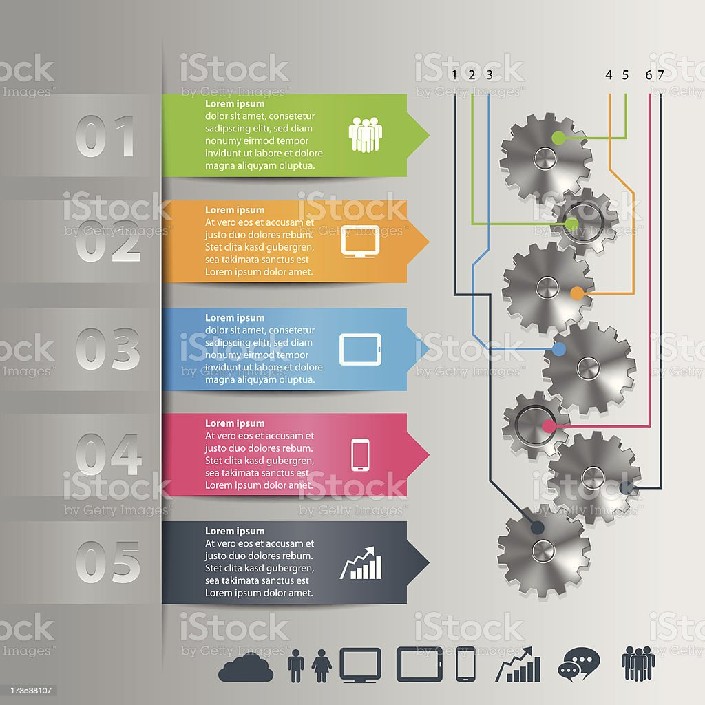 Info Graphic with gears royalty-free stock vector art