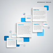 Info graphic with square labels in blue design vector eps 10