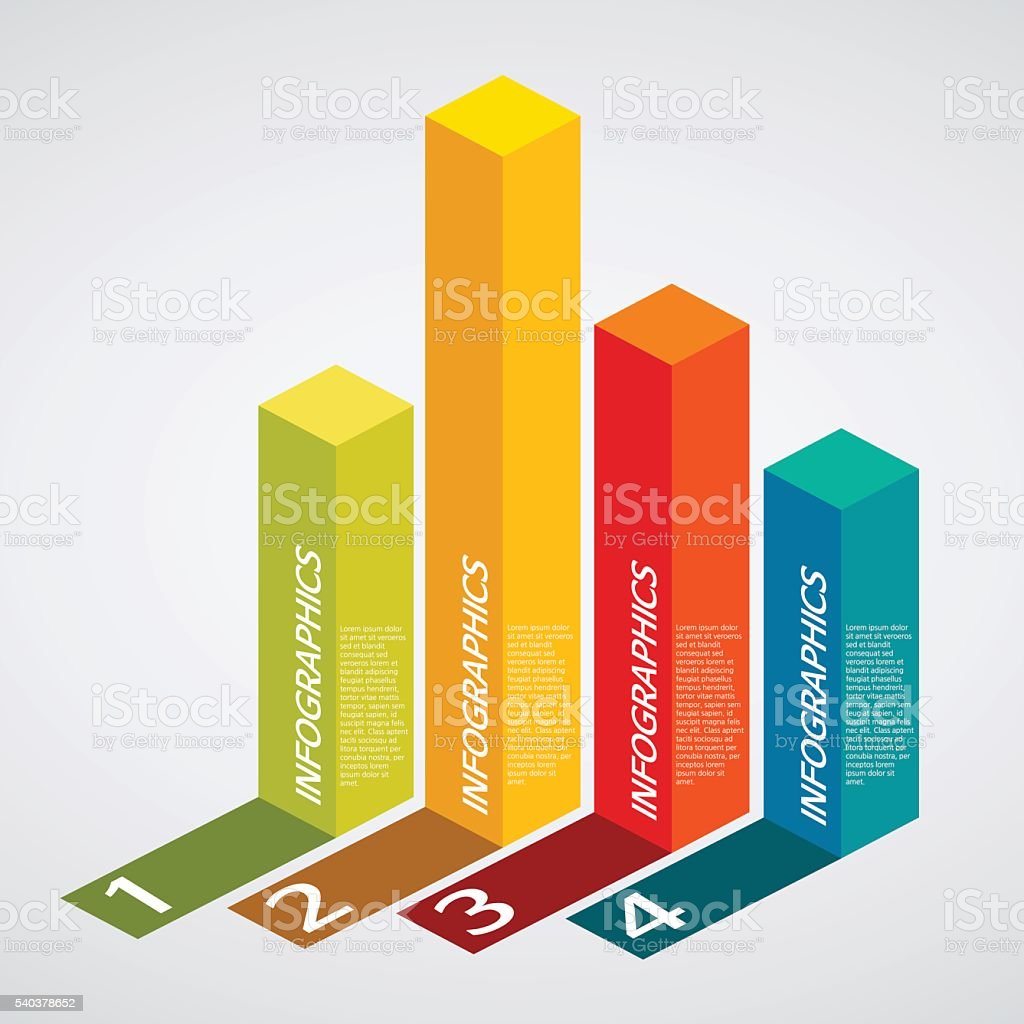 info graphics - colorful graph, square pillar, shadow vector art illustration