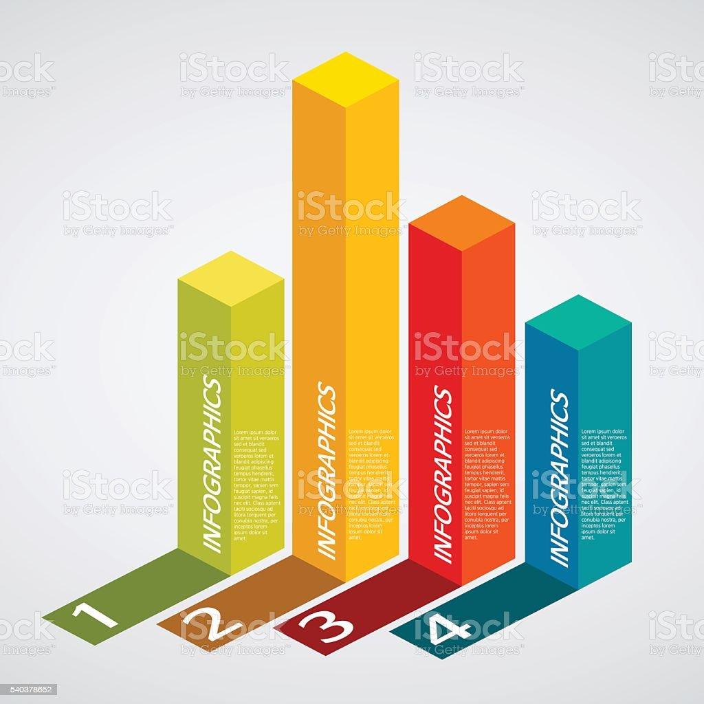 info graphics - colorful graph, square pillar, shadow vector art illustration
