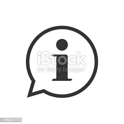 istock Info help sign icon vector symbol, line outline art black and white information bubble speech mark isolated pictogram image 1183227712