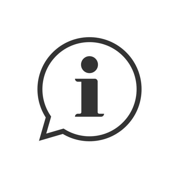 stockillustraties, clipart, cartoons en iconen met info help teken pictogram vector symbool, lijn overzicht art zwart-wit informatie bubble spraak merk geïsoleerde pictogram afbeelding - informatiemedium
