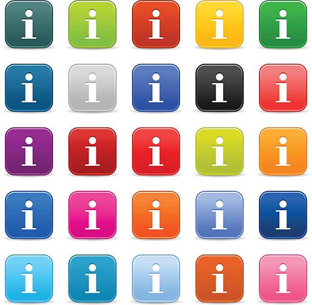 Info-Symbol. 1 credits. Satin-Abgerundete Knopfleiste Weiß – Vektorgrafik