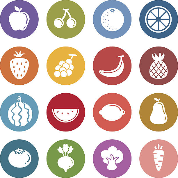 Info icon: Fruits and vegetable Info icon: Fruits and vegetable beet stock illustrations