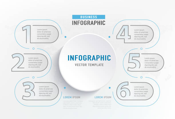 infograph 6 step element. circle graphic chart diagram, business graph design. vector illustration - klawisz option stock illustrations