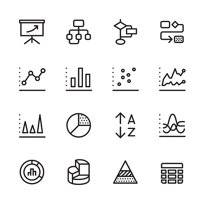 16 line black and white icons / Set #41 / Infographic and Chart