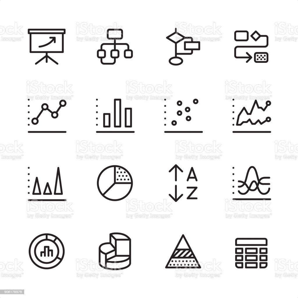 Infographic and Chart Types - outline icon set vector art illustration