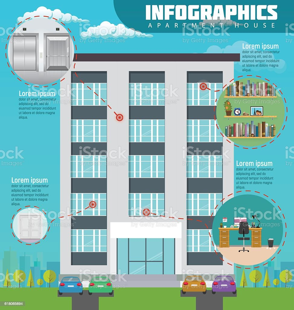 Infographic apartment house in city. Detailed modern interior vector art illustration