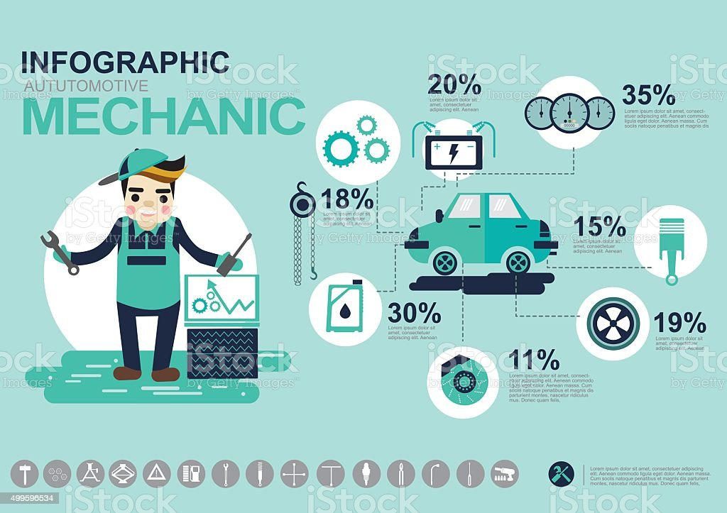 Infografik Automotive Mechaniker Stock Vektor Art und mehr Bilder ...