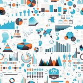 Infographic background with different elements like charts, pie charts, diagrams, time lines,...