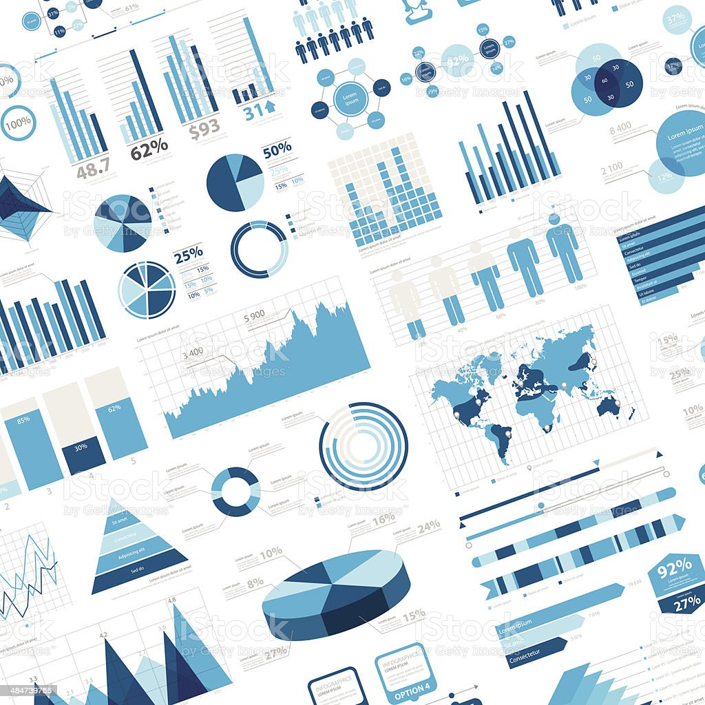 Infographic Background with charts and diagrams vector art illustration