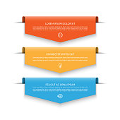 Infographic banner with 3 colorful arrows, labels, tags. Origami style. Can be used for diagram, numbers, options, chart, report, web design