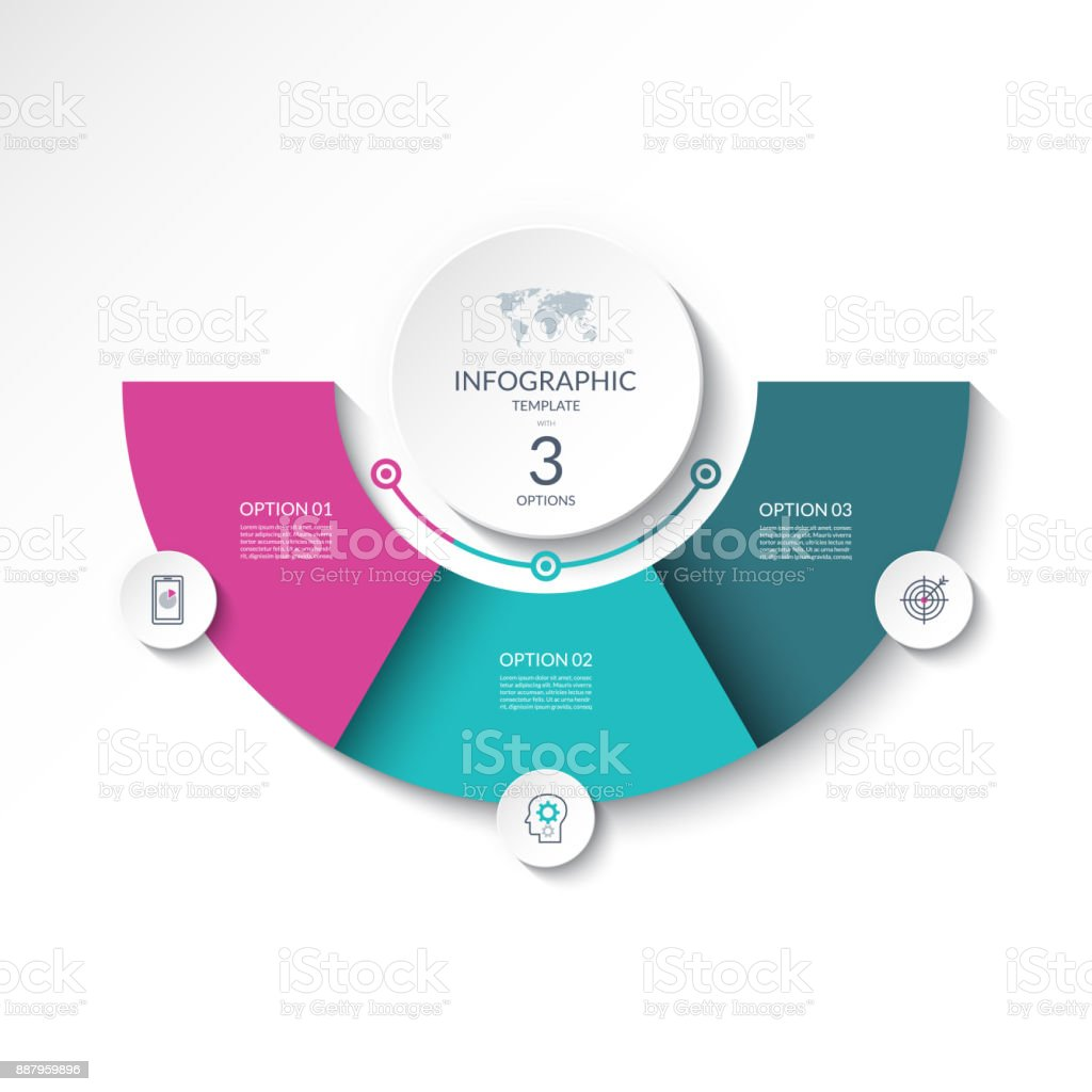 Infographic banner with 3 options. Vector template for business presentation, report, data visualization, web design. Can be used as a table, chart, diagram, graph, workflow layout . vector art illustration
