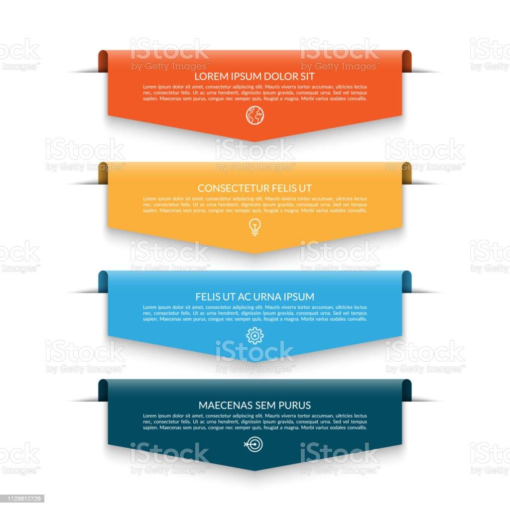 Bandera de infografía con flechas de colores 4 ilustración de bandera de infografía con flechas de colores 4 y más vectores libres de derechos de abstracto libre de derechos
