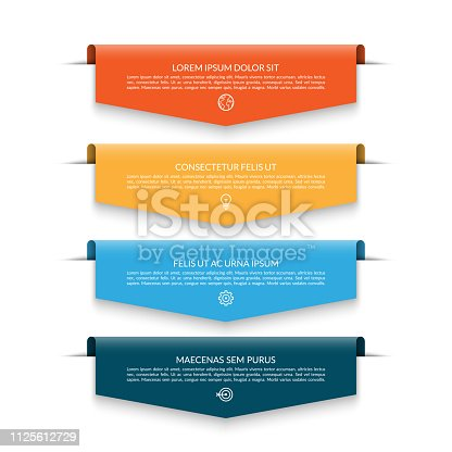 Infographic banner with 4 colorful arrows, labels, tags. Origami style. Can be used for diagram, numbers options, chart, report, web design