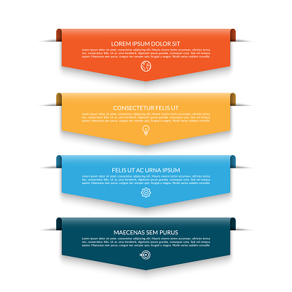Infographic banner with 4 colorful arrows