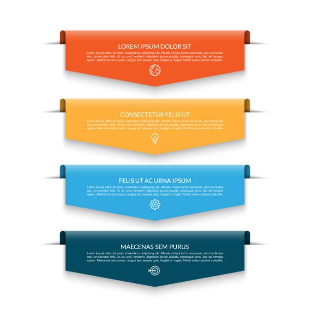 4 renkli oklar ile infographic banner - taslak şekil stock illustrations