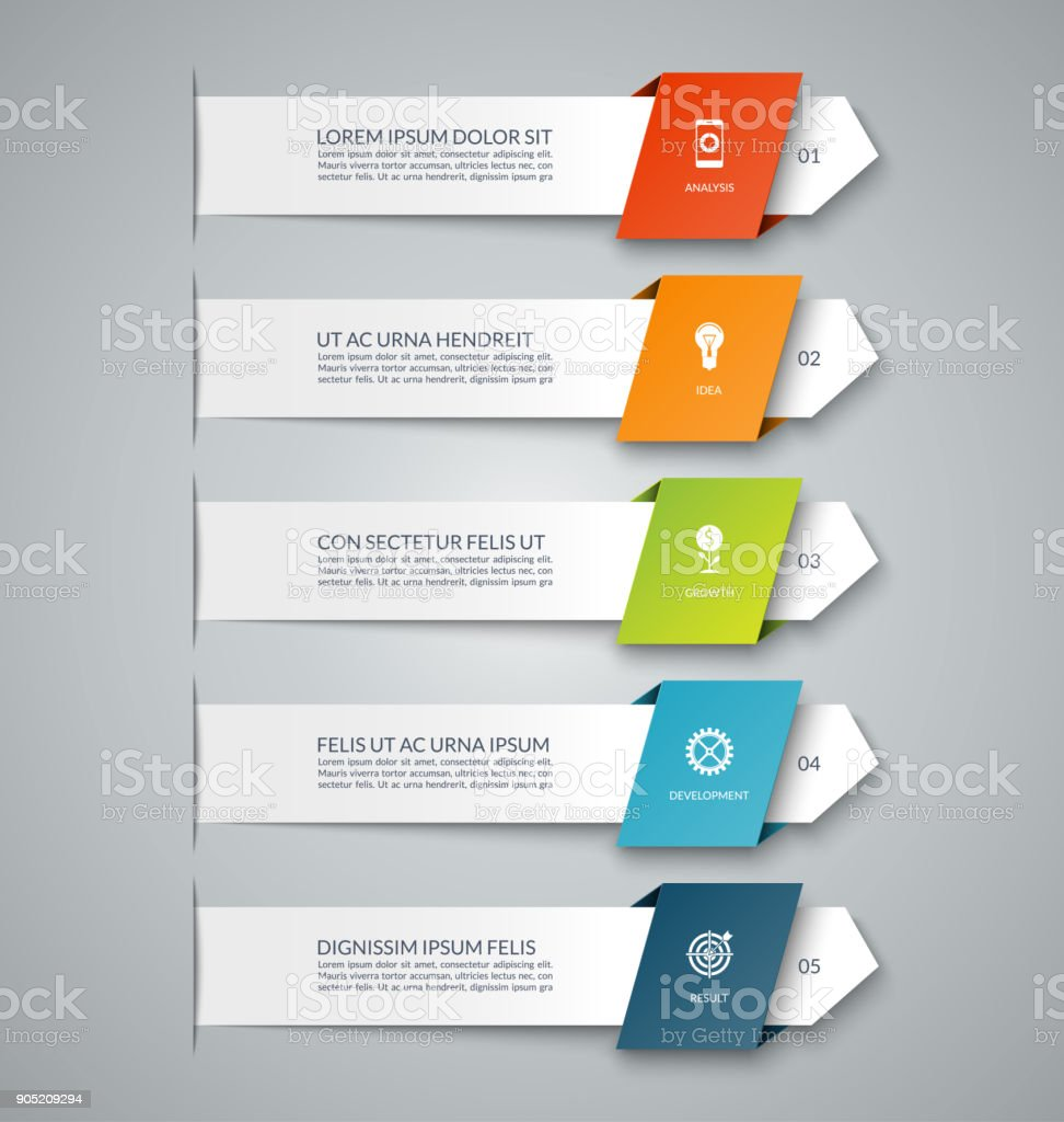 5 矢印とインフォ グラフィック バナー。図、グラフ、グラフ、ビジネス infographics、番号のオプション、web デザインに使用できます。 ベクターアートイラスト