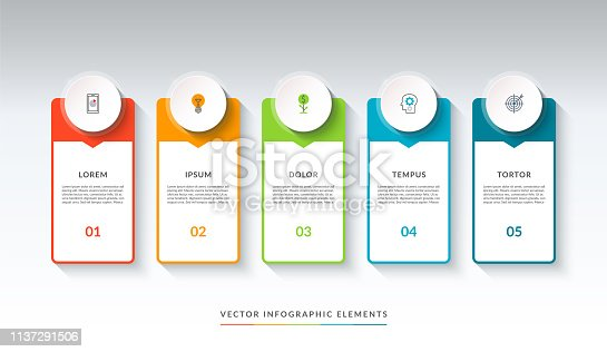 Infographic banner with 5 circles and tabs. Can be used as a diagram, graph, chart. Vector template for business infographics with place for text and icons