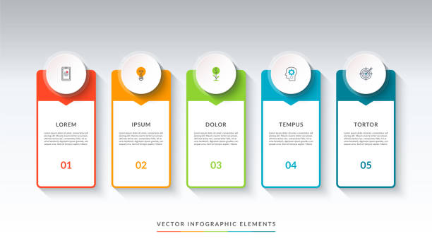 Infographic banner with 5 circles and tabs Infographic banner with 5 circles and tabs. Can be used as a diagram, graph, chart. Vector template for business infographics with place for text and icons machine part stock illustrations