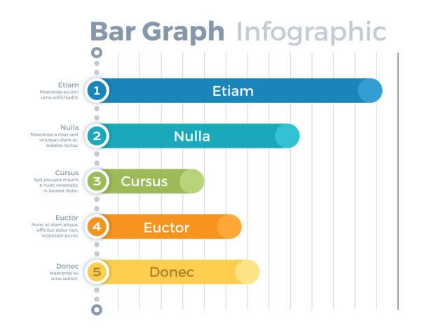 Infographic Bar Graph Five item infographic symbols. bar graph stock illustrations