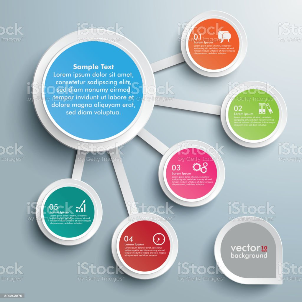 Infographic Big And 5 Small Circles vector art illustration