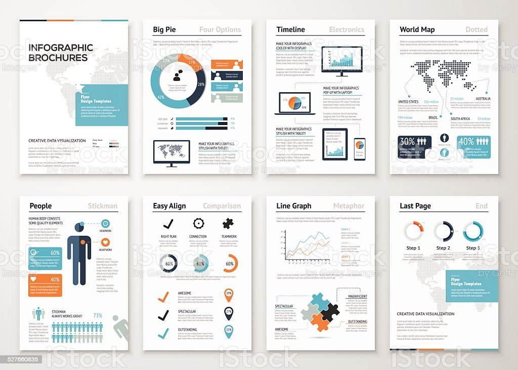 Infographic brochure elements for business data visualization vector art illustration