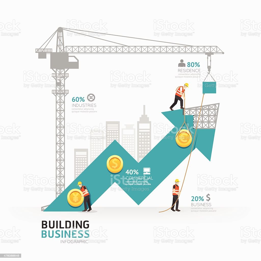 Infographic business arrow shape template design.building vector art illustration
