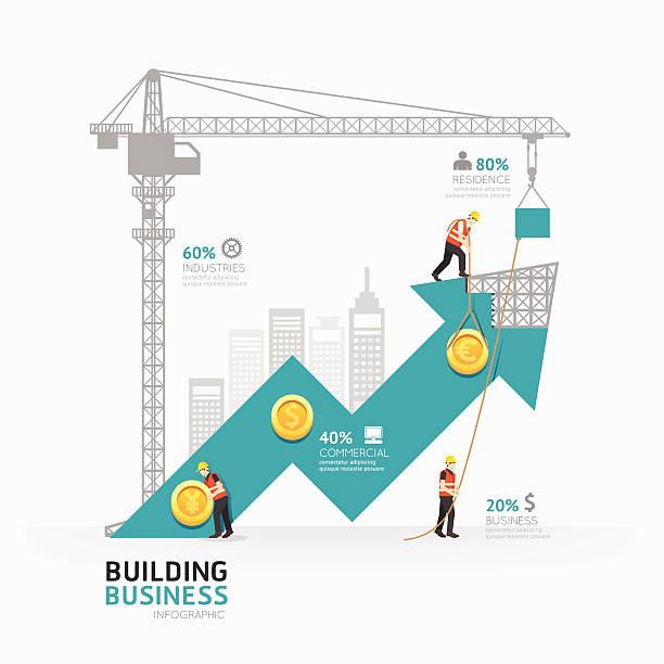 ilustrações, clipart, desenhos animados e ícones de infográfico de negócios com modelo design.building forma - infográficos de site