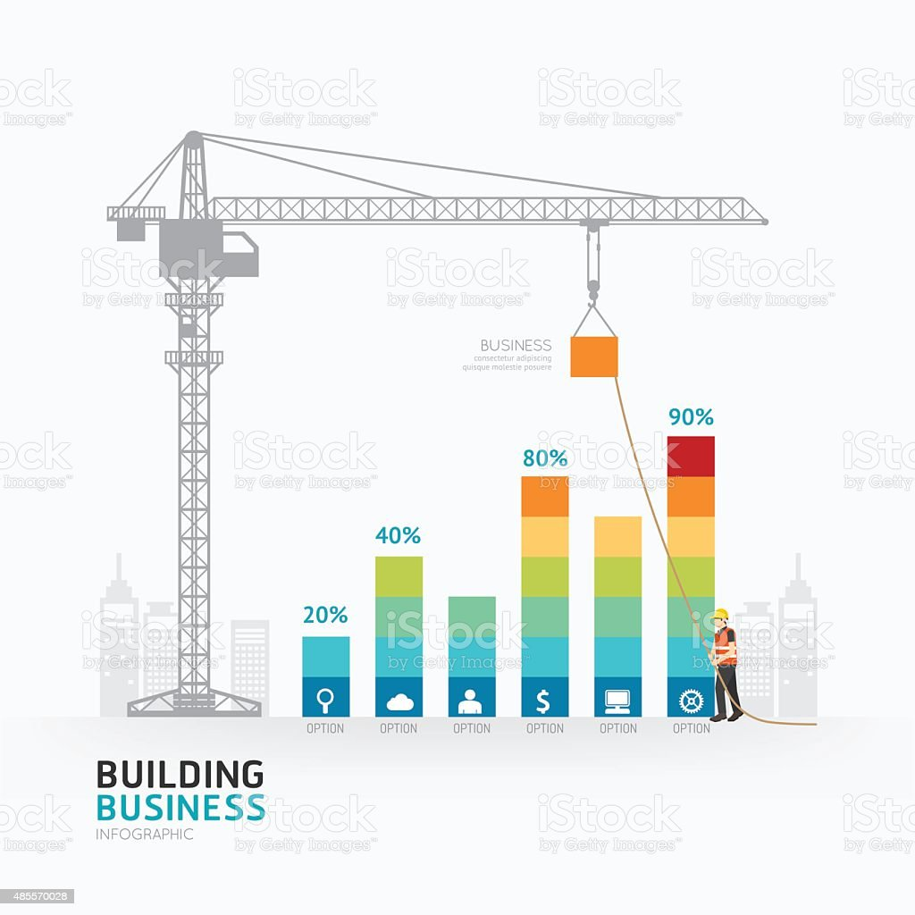 Infographic business graph template design.building to success vector art illustration