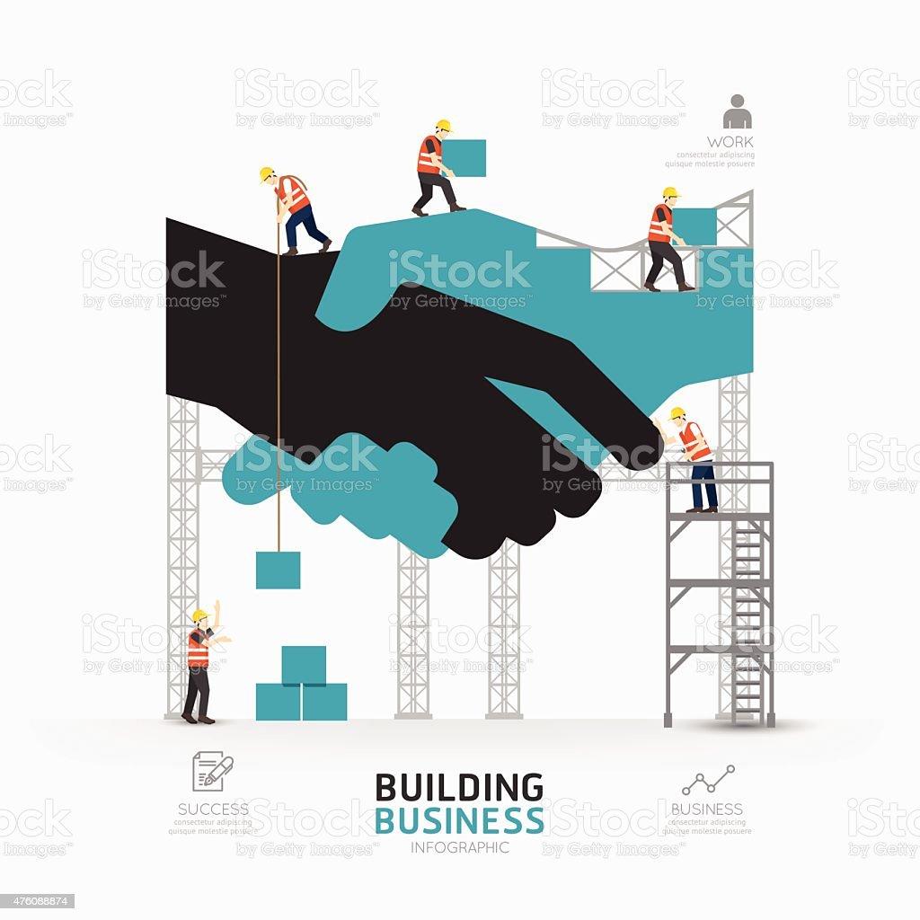 Infographic business handshake shape template design.building vector art illustration