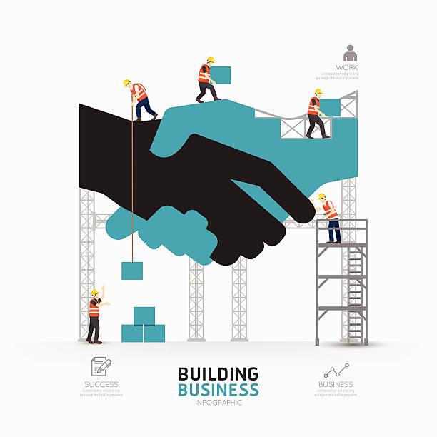 ilustrações, clipart, desenhos animados e ícones de infográfico negócios aperto de mão forma modelo design.building - infográficos de site