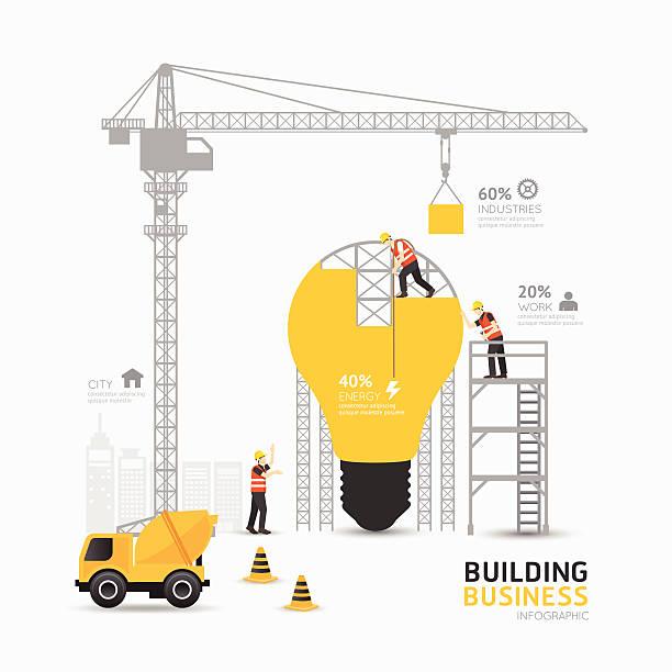 ilustrações, clipart, desenhos animados e ícones de infográfico de negócios lâmpada forma modelo design.building - infográficos de site