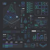 A set of line design-styled infographic elements. EPS 10 file, with transparencies, layered & grouped,