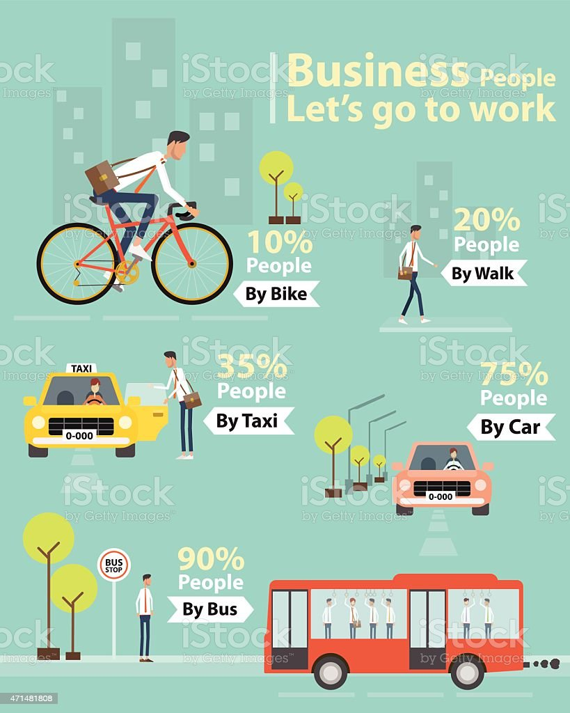infographic business people let's go to work character vector art illustration