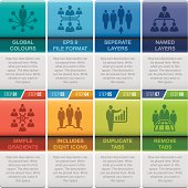 Eight business infographic tabs. Global CMYK colours used