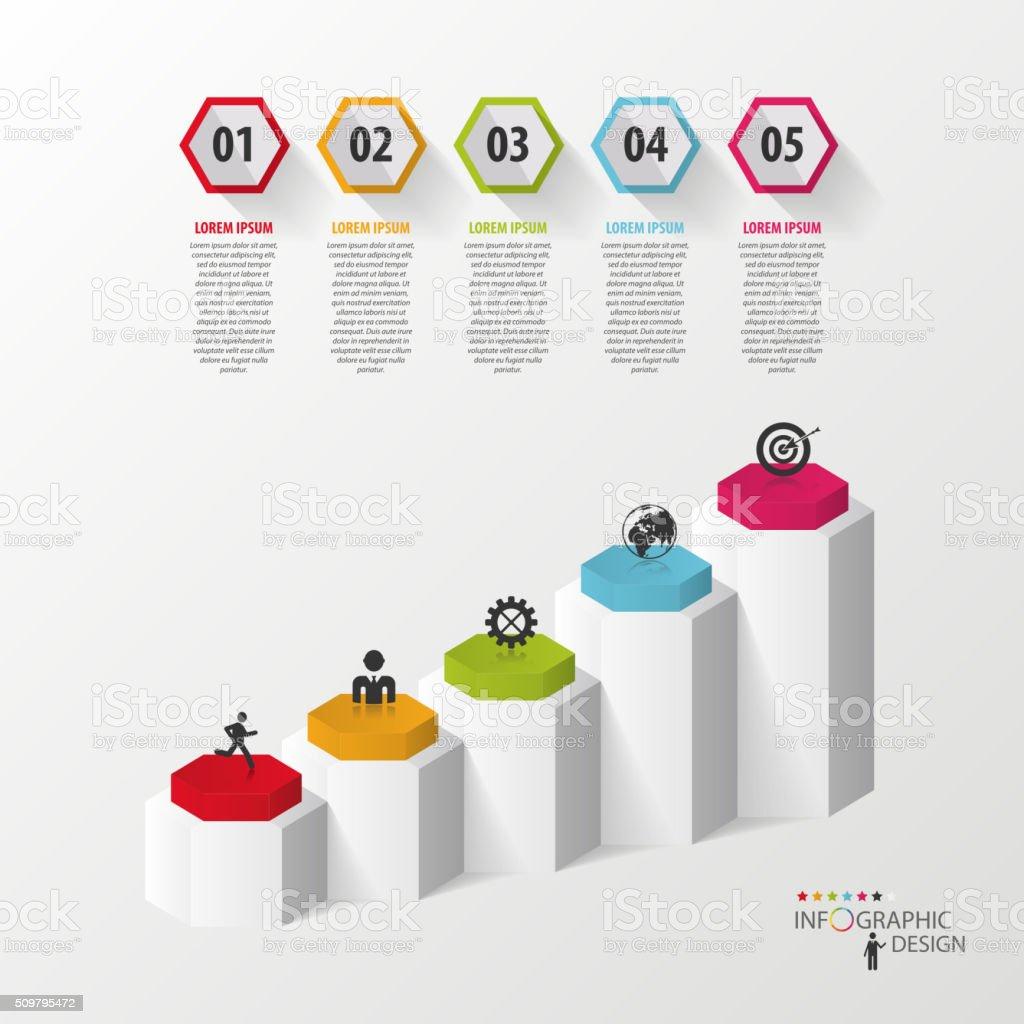 Infographic business template. Hexagons in 3d. Vector vector art illustration