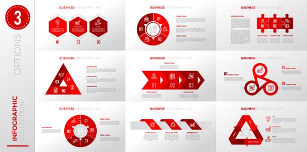 Infographic business template with 3 options. – artystyczna grafika wektorowa