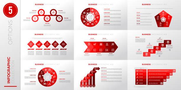 Infographic business template with 5 options. – artystyczna grafika wektorowa