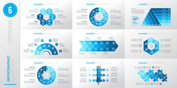 Infographic business template with 6 options. – artystyczna grafika wektorowa
