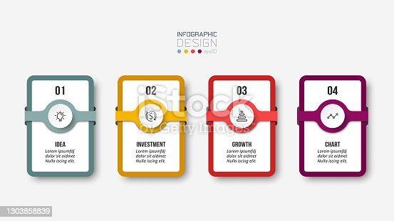 istock Infographic business template with step or option design. 1303858839