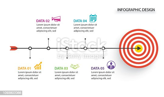 istock 5 Infographic business with bow arrow and Target for timeline presentation concept. 1093802066