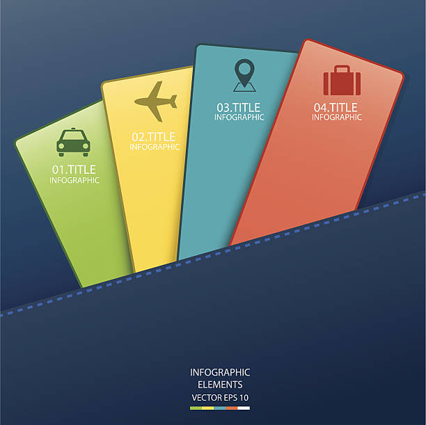 infographic card - business travel stock illustrations, clip art, cartoons, & icons